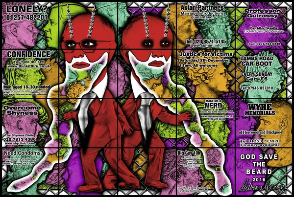 Gilbert & George, God save the beard, 2016 © 2020 Gilbert & George -courtesy Galerie Thaddaeus Ropac, London, Paris, Salzbourg
