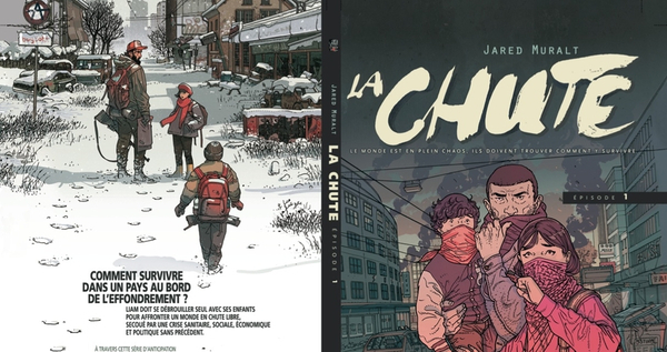 "Jared Muralt, ""La Chute"", Éditions Futuropolis, pages de couverture"